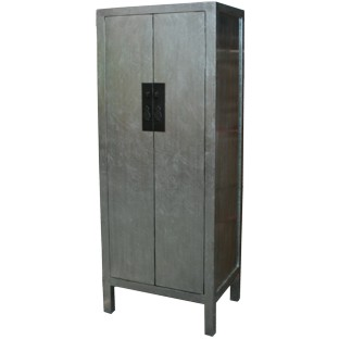 Silver Leaf Wood Slim Cabinet