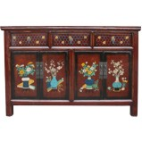 Maroon Painted Chinese Sideboard