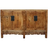 Natural Elm Chinese Sideboard w/ Carvings