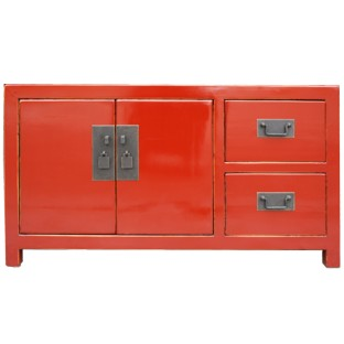 Red Lacquered Low Sideboard Buffet