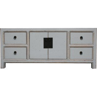 Gray Lacquered Low Sideboard Buffet