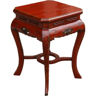 Square Red Stool with Carved Legs