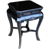 Square Black Stool with Carved Legs