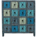 Blue Chinese Herb Medicine Cabinet