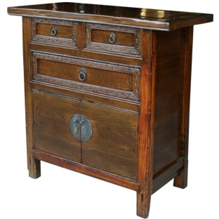 Original Chinese Elm Cabinet w/Carved Drawers