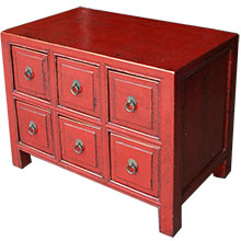 Small Red Chinese Chest of Drawers