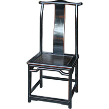 Black Lacquer Dining Chair w/ Rattan Inlay