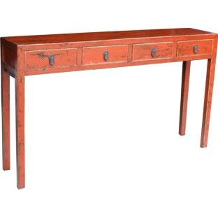 Original Maroon 4-Drawer Hallway Table