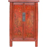 Gold Painted Red Medium Cabinet