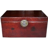 Red Antique Leather Trunk
