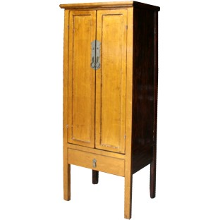 Gold Leaf Wooden Slim Cabinet