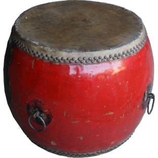 Chinese Antique Red Wood and Leather Drum