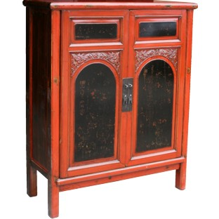 Black and Red Chinese Painted and Carved Cabinet