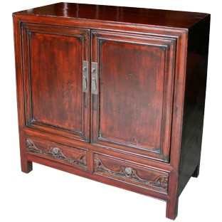 Chinese Antique Red Cabinet w/ Carved Drawers
