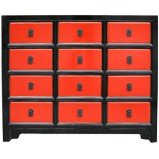 Black and Red Chinese Chest of Drawers