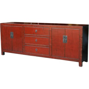 Large Red Wood Sideboard