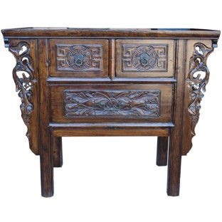Natural Elm Carved Three-Drawer Console Table