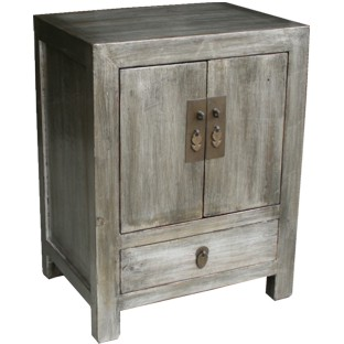 Silver Leaf Coated Bedside Table Cabinet