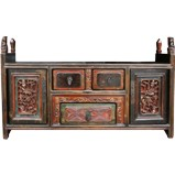 Chinese Bed End Antique Carvings