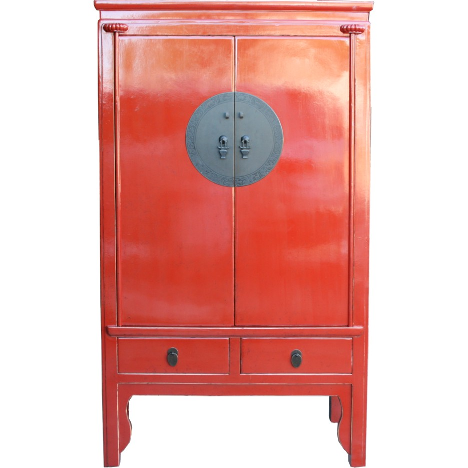 Attirant Red Chinese Wedding Cabinet   Engraved Hardware
