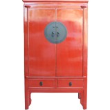 Red Chinese Wedding Cabinet - Engraved Hardware