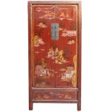 Red Medium Cabinet with Gold Painting