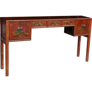 Original Painted 3-Drawer 2-Door Console/Hall Table
