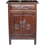 Original Dark Brown Cabinet w/ Carved Doors and Drawer