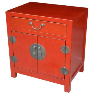 Red Lacquered Bedside Table Crackle Finishing