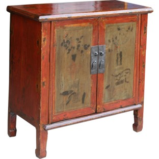Original Red Painted Chinese Cabinet
