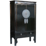 Black Chinese Wedding Cabinet w/Beautiful Hardware