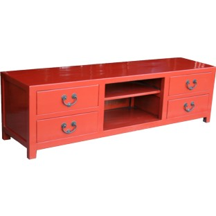 Red Lacquer Low Sideboard/TV Unit