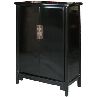 Black Lacquered Ming Style Tapered Cabinet
