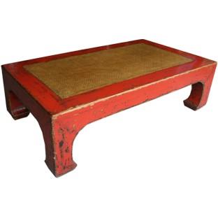 Red Rattan Inlay Rectangular Coffee Table