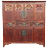 Large Original Red Carved Cabinet