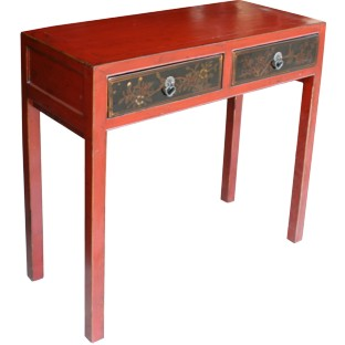 Red Console Table w/ Painted Drawers