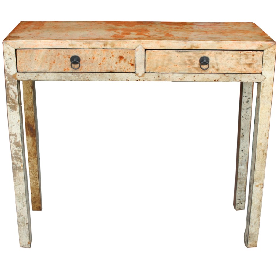 Chinese Leather Console Table Beige Original