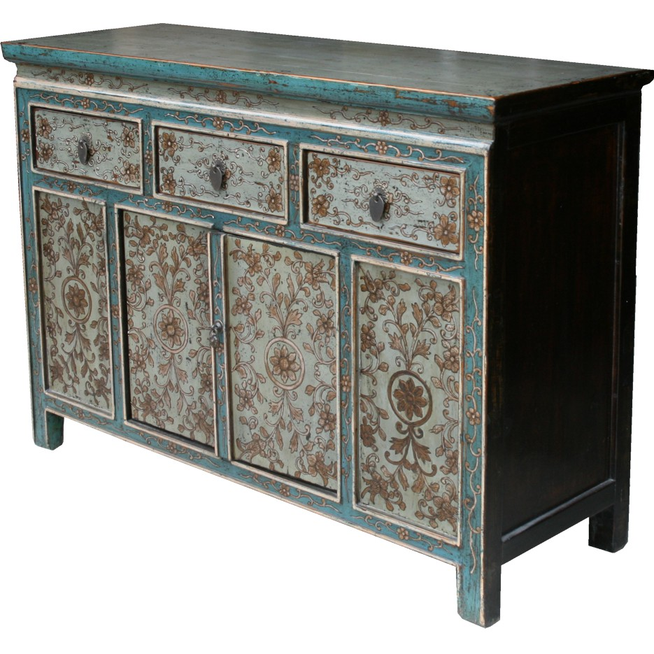 Tibetan Chinese Sideboard Original Painted Cabinet
