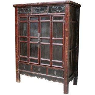 Large Original Painted Red Wedding Cabinet