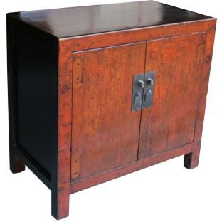 Original Orange Painted Side Cabinet