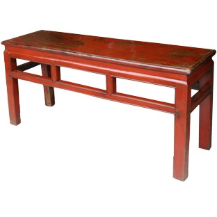 Chinese Red Bench w/Patina