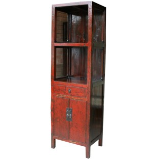 Red Slim Display Cabinet