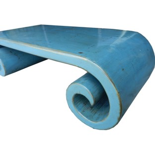 Blue Grey Musical Table Scroll Legs