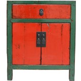 Original Chinese Red Bedside Cabinet