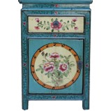 Teal Tibetan Painted Bedside Table