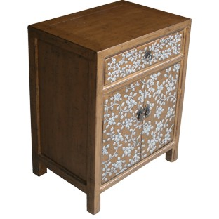 Tibetan Bedside Table -Gold Leaf w/Embossed Flora