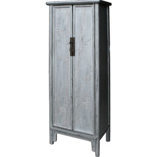 Silver Leaf Wood Slim Cabinet w/Carved Bamboo