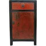 Original Red and Black Bedside Table w/Patina
