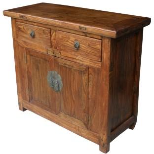 Original Chinese Elm Cabinet w/ Original Hardware