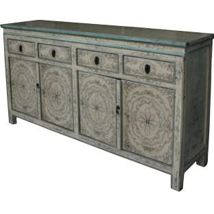 Original Beige Painted Tibetan Sideboard